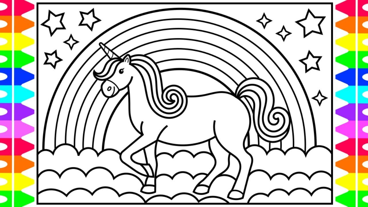 How to draw a unicorn for kids 💜💛💖🦄unicorn drawing for kids unicorn coloring pages for kids