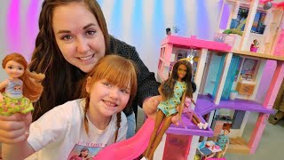 BARBiE MOViNG DAY!!  Dream House Makeover! new neighborhood & swimming pool! play pretend with Adley