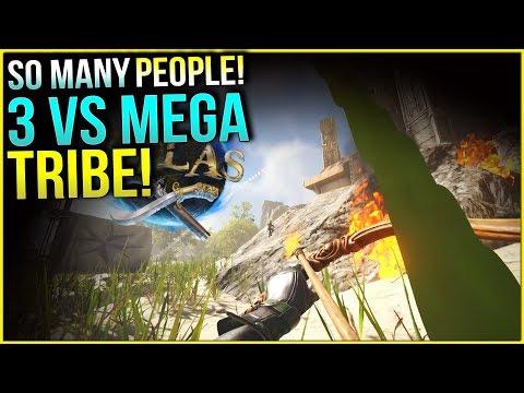 3 vs a MEGA TRIBE! - ATLAS OFFICIAL PVP GAMEPLAY - Ep 4