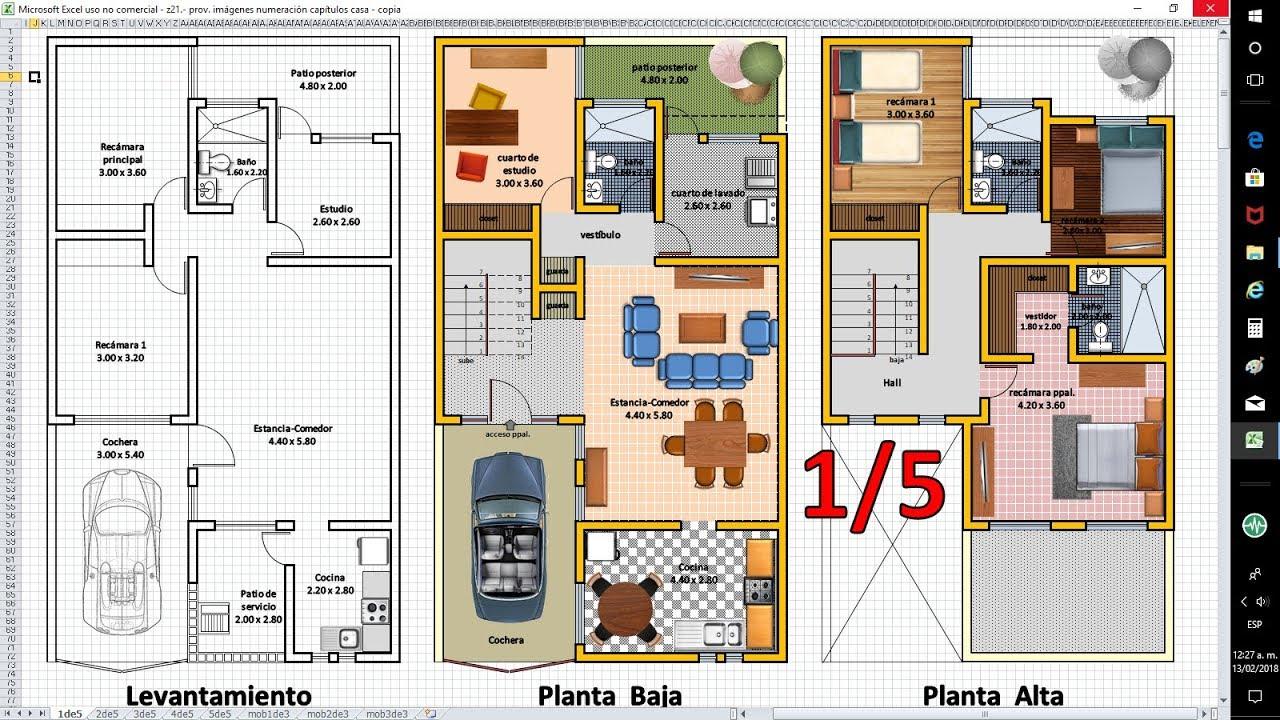 1/5 Planos de Casas con Excel. Anteproyecto de Ampliación. - YouTube