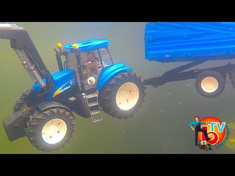 BRUDER Toys TRAKTOR New Holland CRASH diving! | KIDS Video | Action Video