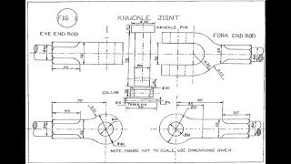 Knuckle joint assembly drawing in hindi in easy way important for polytechnic / engineering student