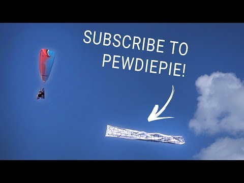 Towing a Pewdiepie banner with my paramotor!