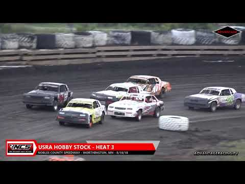 Hobby Stock Heats - Nobles County Speedway - 8/18/18