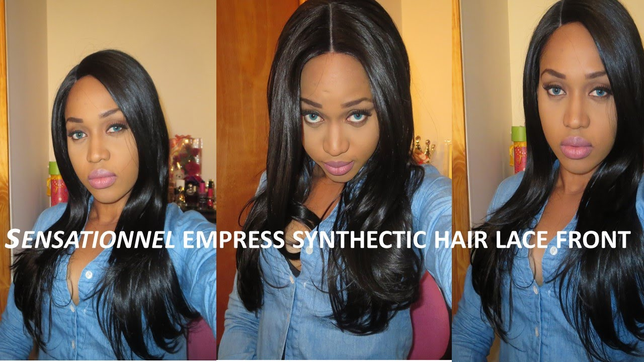 Sensationnel empress custom lace front wig  straight color 1b - YouTube a9273146c