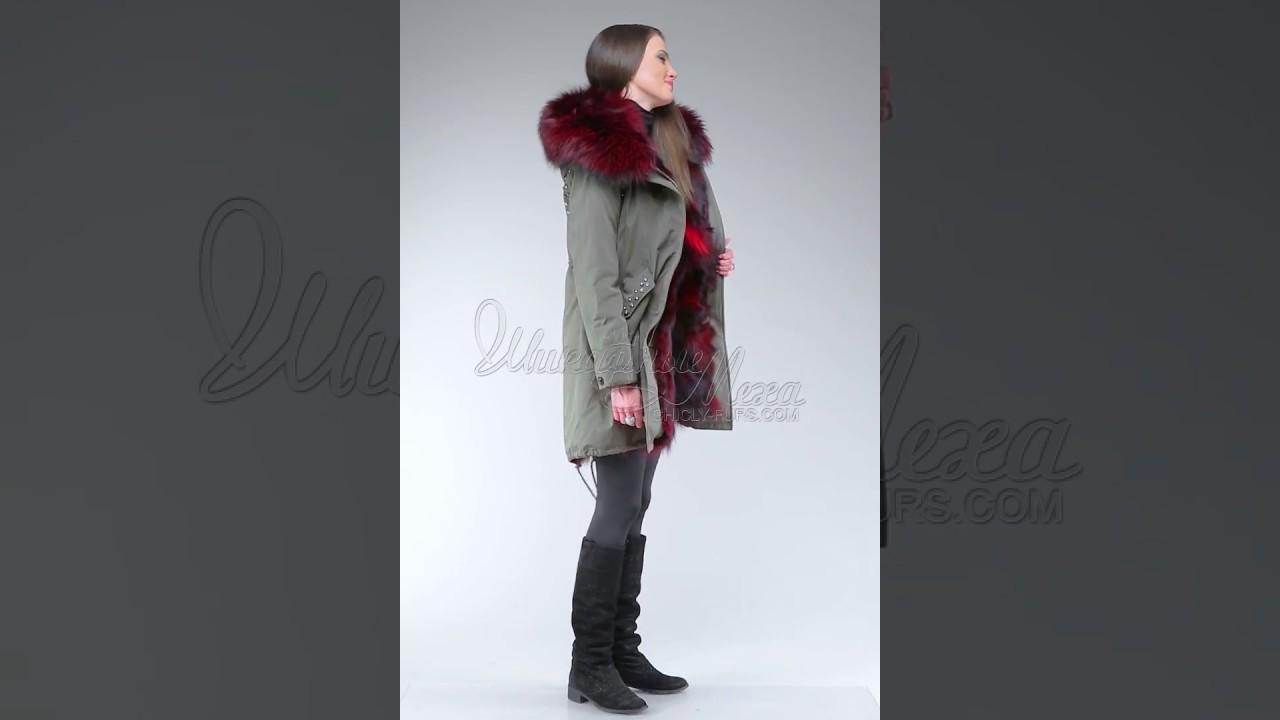 Pink parka fur raccoon jacket - YouTube