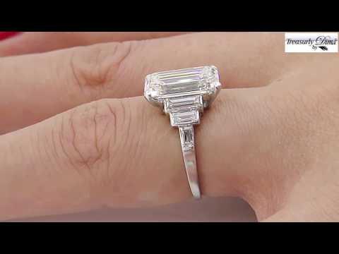 Art Deco GIA 4.37ct Emerald Cut Diamond Antique Vintage Platinum Ring
