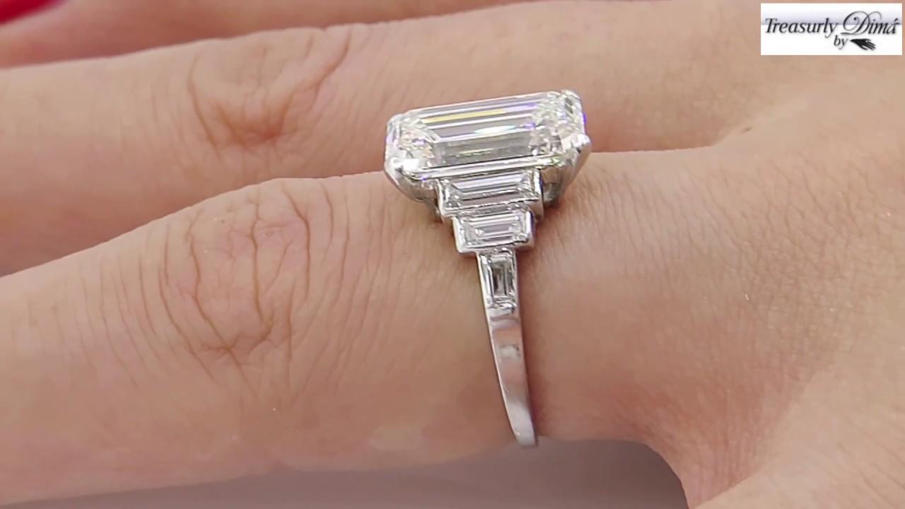 Art Deco Gia 4 37ct Emerald Cut Diamond
