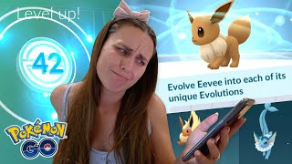 I WASN'T READY! CURSED BY EEVEE on my Grind to LVL 42! Pokémon GO