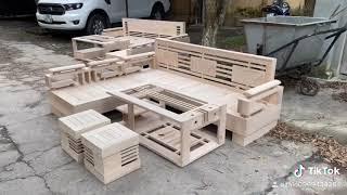 Hình ảnh thực tế sofa góc cót 3 lá gỗ sồi Nga SG03 mộc
