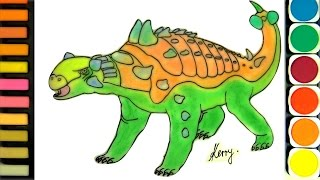 How to draw Dinosaurs for Kids, Drawing Dinosaurs, Coloring Video, Learning colors