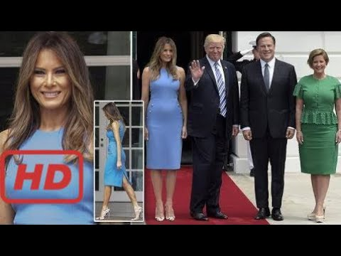 Melania Trump welcomes Panama's President in breathtaking blue dress