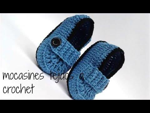 67eee1ca2 mocasines tejidos a crochet para bebe - YouTube