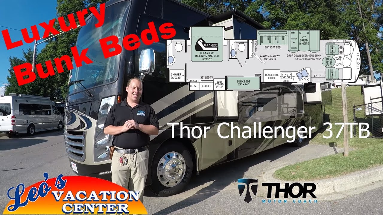 2018 Thor Challenger 37TB Bunk House Class A Luxury Walk Through Review