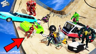 GTA 5 : Shinchan &amp Avengers Army VS Ultimate Ramp Jump Challenge in GTA 5 ! (GTA 5 mods)