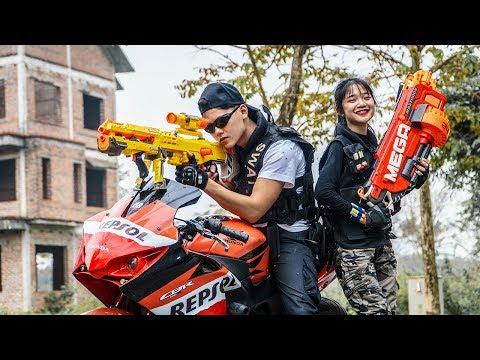 LTT Game Nerf War : Winter Warriors SEAL X Nerf Guns Fight Criminal Group Rocket Moto Bay