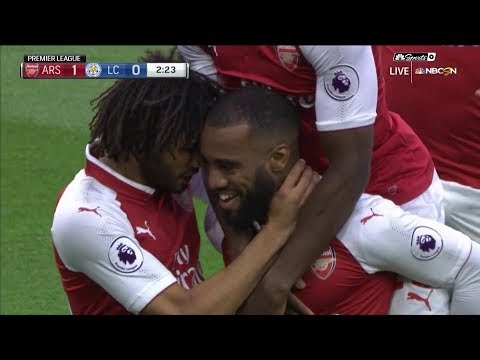 Lacazette scores early goal in Arsenal debut v. Leicester