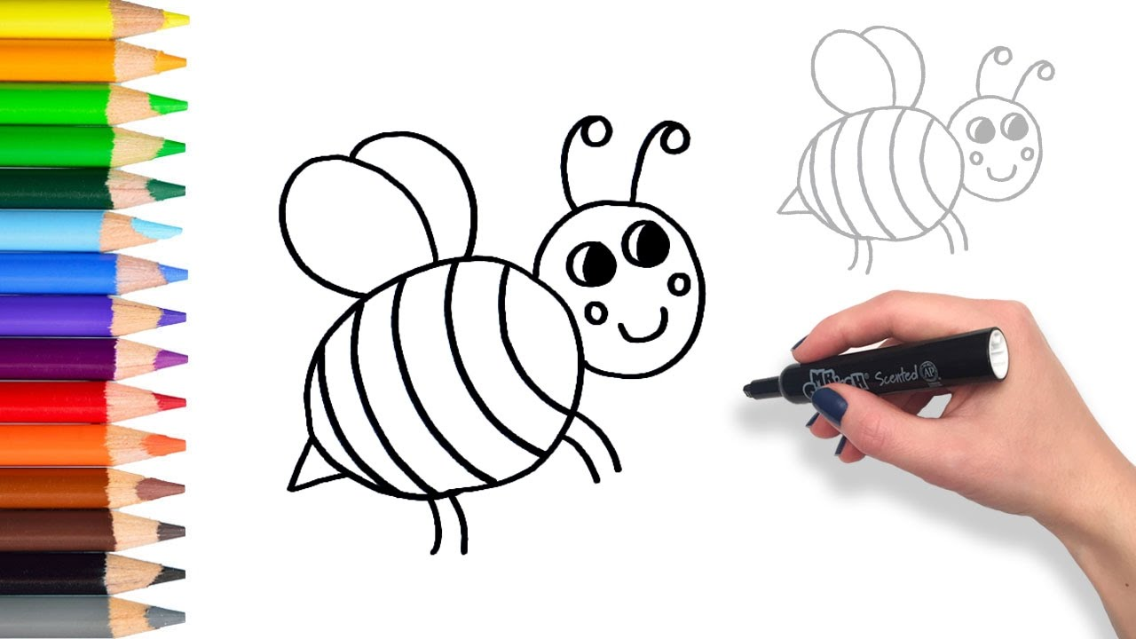 How To Draw Happy Bumble Bee