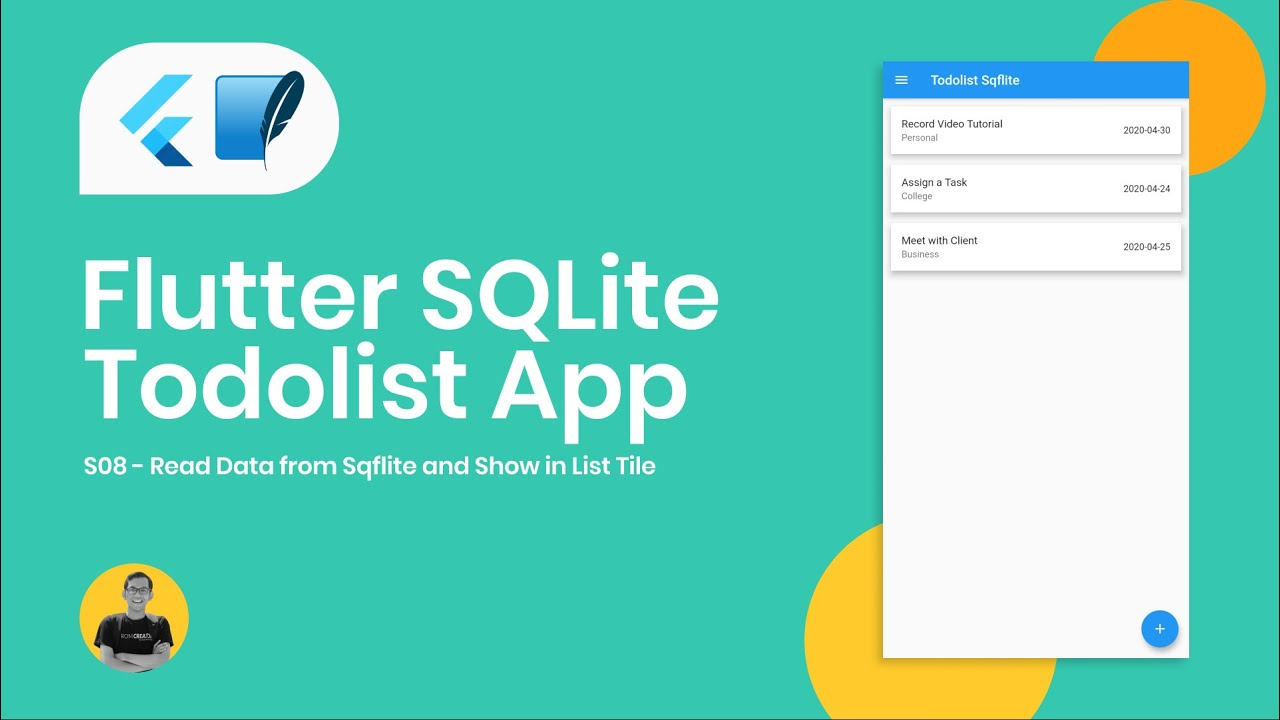 Read Data from Sqflite and Show in List Tile - Flutter Sqflite TodoList App Tutorial 08