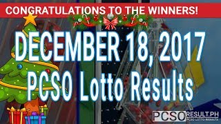 PCSO Lotto Results Today December 18, 2017 (6/55, 6/45, 4D, Swertres, STL & EZ2)