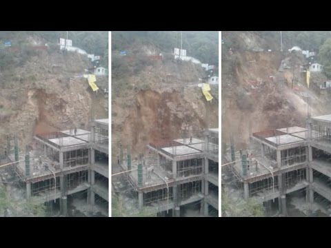 Landslide In India Slams Into Construction Site