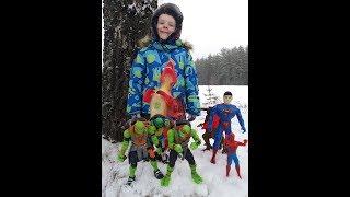 Черепашки ниндзя,Человек паук и Супермен против Драконов