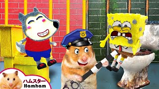 【Hamham JP】Spongebob Vs Wolfoo - リッチvsブローク  Cartoon Hamster