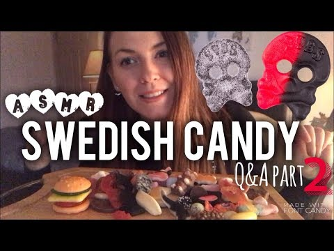 ☠️ SWEDISH CANDY ☠️ / q&a answers PART 2!! ~ ASMR Relaxing Eating Sounds