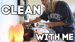 CLEAN WITH ME PART 2: desk organization, room decor, and cleaning out