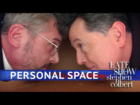 Steve Carell Gets Into Stephen Colbert's Personal Space
