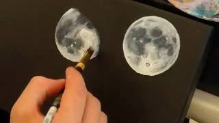 Time lapse - Phases of the Moon - Acrylic paint on canvas