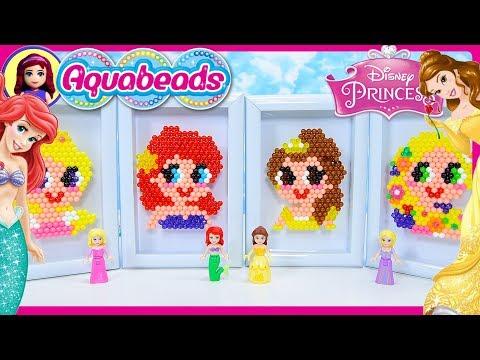 Disney Princess Aquabeads Portraits Craft Review Silly Play Kids Toys Rapunzel Ariel Belle Aurora