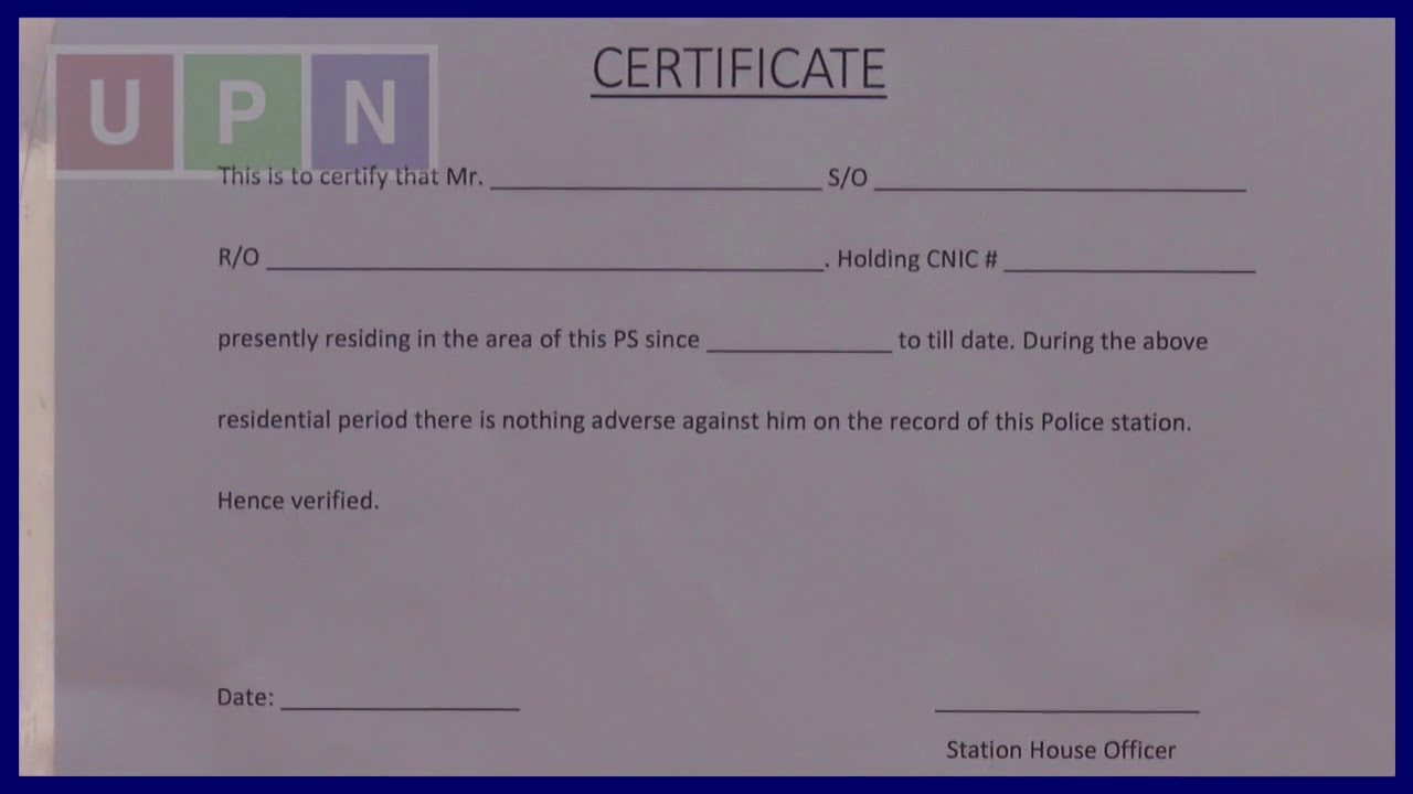 Police Verification Certificate Of Tenant
