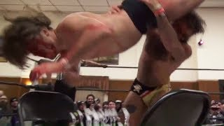A bloody Joey Janela gets slammed chest-first onto a plastic fork board | Beyond Wrestling 👑