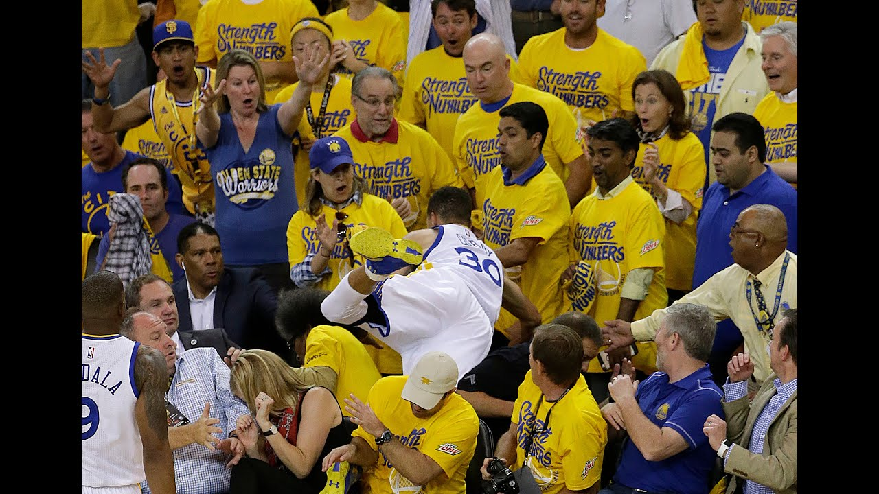 181961ac9d55 Stephen Curry details injuring his elbow after flying into the stands vs.  OKC