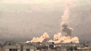 AMAZING footage from SYRIA! Russian Mi 24 drops bombs on Daraya   МИ 24 бомбардирует город Дарья