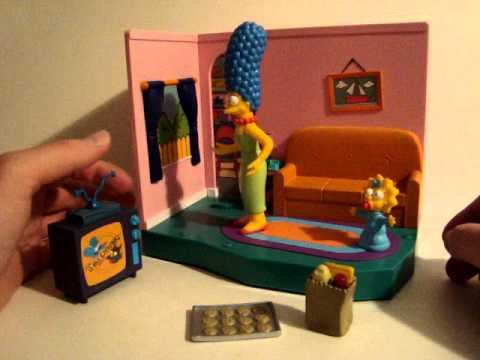 The Simpsons Living room environment with Marge and Maggie