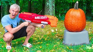 Video NERF VS PUMPKIN!! download MP3, 3GP, MP4, WEBM, AVI, FLV Januari 2018