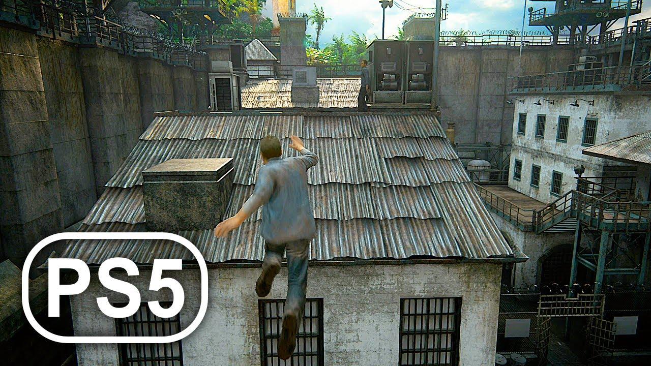 PS5 Gameplay Prison Break Scene 4K ULTRA HD - Uncharted 4