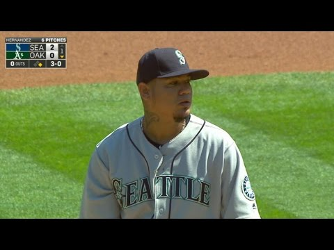 SEA@OAK: Felix holds A's scoreless through six in win