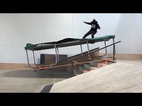 SKATING A TRAMPOLINE DOWN STAIRS | SKATE EVERYTHING EP