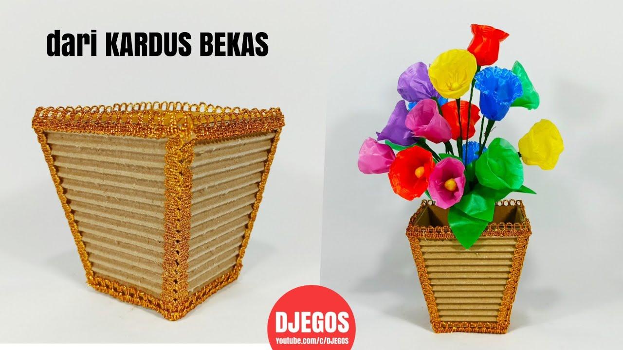 Membuat Vas Bunga Dari Kardus Ide Kreatif Dari Kardus Bekas How To Make Flower Vase At Home By Icy Handycraft