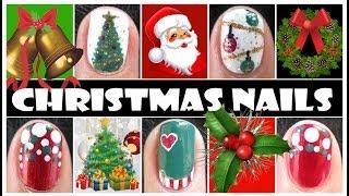 Christmas Nail Designs | Xmas Holiday Nail Art Tutorials For Short Nails Tree Ornaments Easy