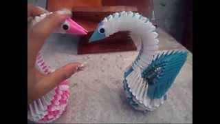 Origami 3d-cisnes Rosa Y Azul