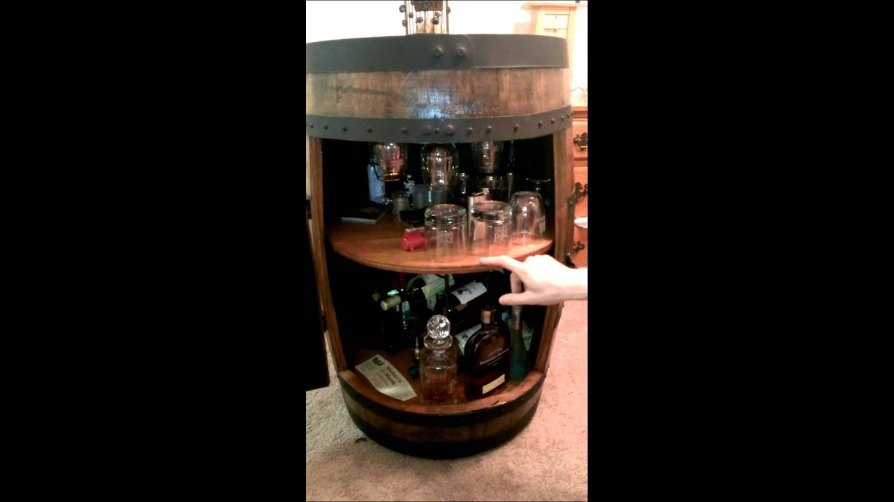 Whiskey barrel liquor cabinet youtube for How to build a wine bar