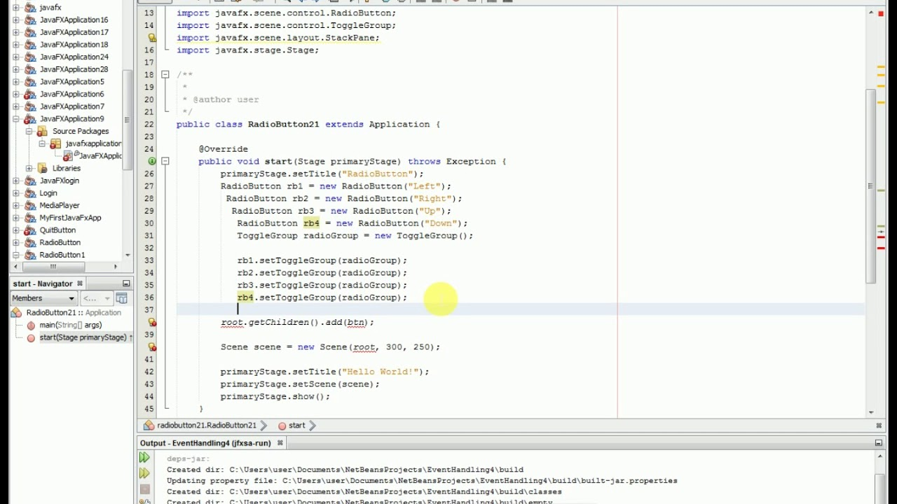 RadioButton and HBox in javaFX