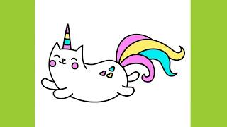 How to draw Sweet Kitty Unicorn Cute and Easy