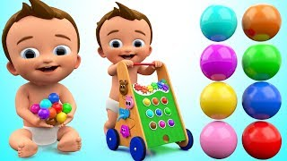 Learn Colors for Children with Baby Caterpillar Wooden Toy Hammer Balls 3D Kids Learning Educational