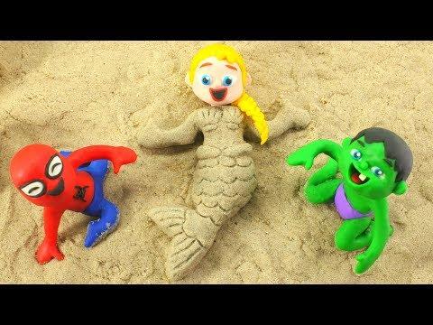 Frozen Elsa Becomes a Mermaid ❤ Superhero Babies Play Doh Cartoons For Kids ❤ Play Doh Stop Motion