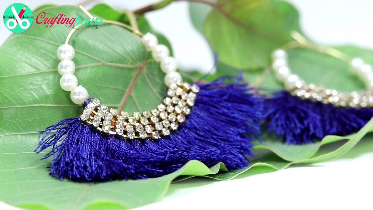 How to Make Silk Thread Tassel Earrings (2 designs) at Home Easily ...